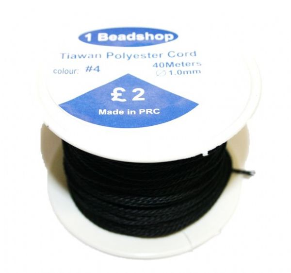 Black 04: 30 Metres x 1.5mm Taiwan polyester cord - 5000059
